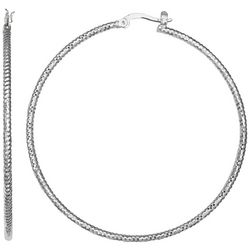 Silver Elements 60mm Textured Silver Tone Hoop Earrings