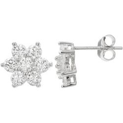 Silver Brilliance CZ Flower Stud Earrings