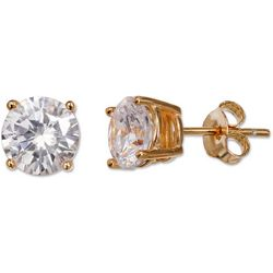 Silver Elements Gold Tone Halo CZ Stud Earrings