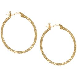 Silver Elements Gold Tone Cross Textured Hoop Earrings