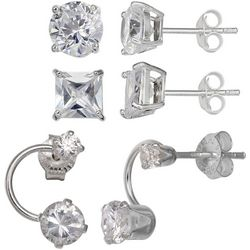 Silver Brilliance Sterling Silver CZ Earring Set