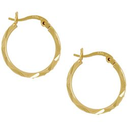 Silver Elements Gold Tone Diamond Cut Textured Hoop Earrings