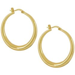 Silver Elements Gold Tone Polished Tubular Hoop Earrings