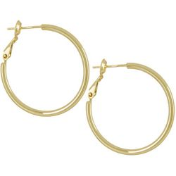 Silver Elements Gold Tone Polished Hoop Earrings