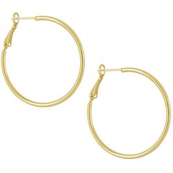 Silver Elements Gold Tone Clutchless Classic Hoop Earrings