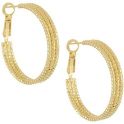 Silver Elements Gold Tone Triple Textured Hoop Earrings