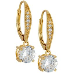 Silver Elements Gold Tone CZ Leverback Earrings