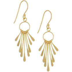 Silver Elements Gold Tone Drop Flare Paddle Earrings