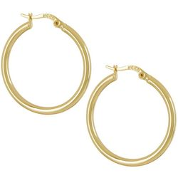 Silver Elements Gold Tone Polished Classic Hoop Earrings