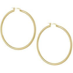 Silver Elements Gold Tone Round Tubular Hoop Earrings