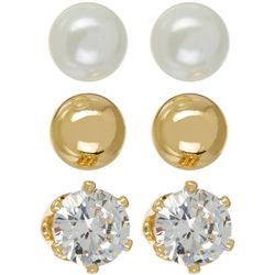 Silver Elements 3-pc. Faux Pearl Ball CZ Earring Set