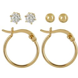 Silver Elements 3-pc. Hoop CZ Ball Earring Set