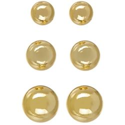 Silver Elements 3-pc. Gold Tone Ball Stud Earring Set