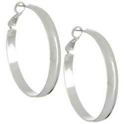 Silver Elements Silver Tone Wide Polished Earrings