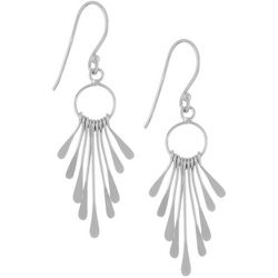 Silver Elements Silver Tone Drop Flare Paddle Earrings