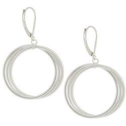 Silver Elements Silver Tone Drop Multi Circle Hoop Earrings