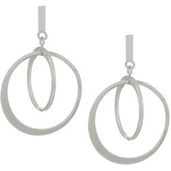 Silver Elements Post Top Double Orbital Ring Earrings