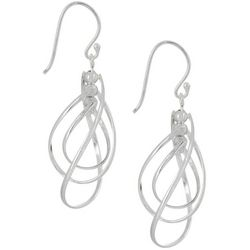 Silver Elements Triple Teardrop Orbital Twirl Earrings