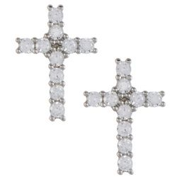 Silver Brilliance Pave CZ Cross Stud Earrings