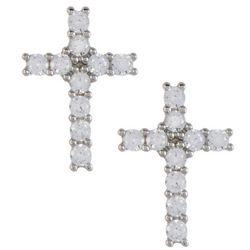 Signature Pave CZ Cross Stud Earrings