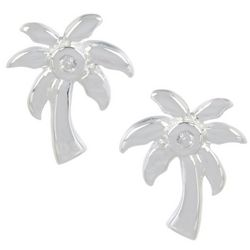 Silver Brilliance Palm Tree Stud Earrings