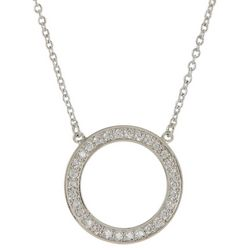 Silver Elements CZ Pave Circle Pendant Necklace