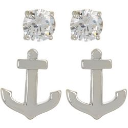 Silver Elements 2-pc. Anchor & CZ Stud Earring Set