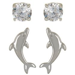 Silver Elements 2-pc. CZ & Dolphin Earring Set