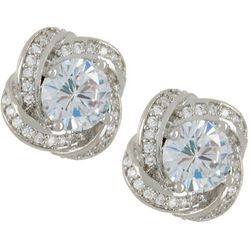 Silver Elements Silver Tone CZ Love Knot Stud Earrings