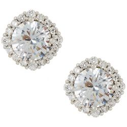 Silver Elements Silver Tone Pave CZ Square Stud Earrings