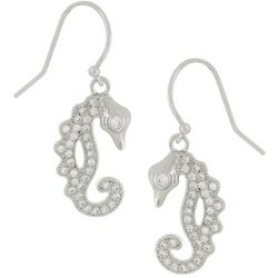 Silver Elements Pave CZ Seahorse Dangle Earrings