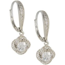 Silver Elements Silver Tone CZ Love Knot Dangle Earrings