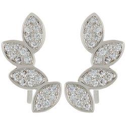 Silver Elements CZ Cascading Leaf Earrings