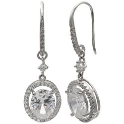 Signature Sterling Silver CZ Oval Halo Drop Earrings