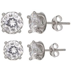 Signature Sterling Silver Round Crown Stud Earring Set