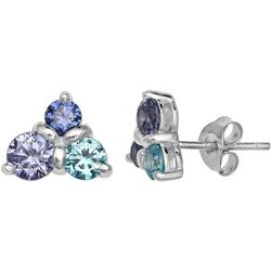 Signature Triangle Multi CZ Stud Earrings