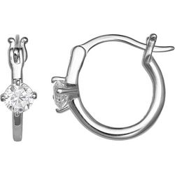 Silver Brilliance Sterling Silver CZ Hoop Earrings