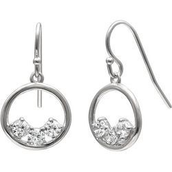 Silver Brilliance Three CZ Stones Ring Drop Earrings
