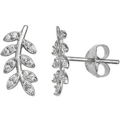 Signature Cubic Zirconia Leaf Stud Earrings