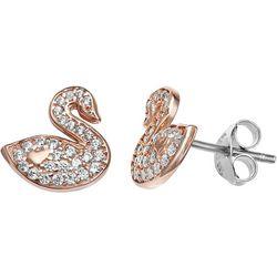 Silver Brilliance Gold Tone Swan CZ Earrings
