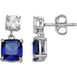Silver Brilliance Double Drop CZ Post Earrings