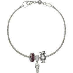 Genuine Sterling Silver Flip Flop Charm Bracelet