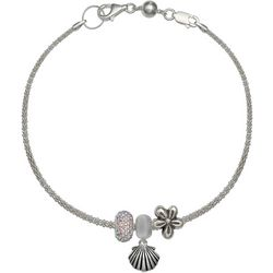 Genuine Sterling Silver Flower Shell Charm Bracelet