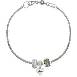 Genuine Sterling Silver Mom Heart Charm Bracelet