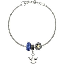 Genuine Sterling Silver Angel Charm Bracelet