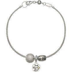Genuine Sterling Silver Faith Hope Love Charm Bracelet