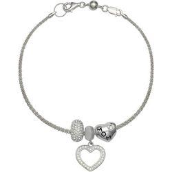 Genuine Sterling Silver Double Heart Mom Charm Bracelet