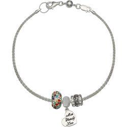 Genuine Sterling Silver Mom Crystal Slider Bead Bracelet