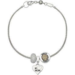 Genuine Sterling Silver #1 Mom Family Charm Bracelet