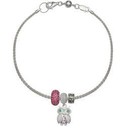 Genuine Sterling Silver Owl Love Charm Bracelet